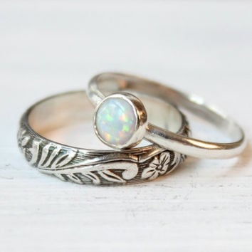 Opal ring set or separate rings sterling silver half round floral band, 6  mm simulated white opal, engagement promise October birthday