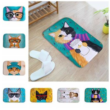 New Kawaii Welcome Floor Mats Cat Animal Print Bathroom Kitchen Carpets Children Doormats for Living Room Anti-Slip Tapete Rugs