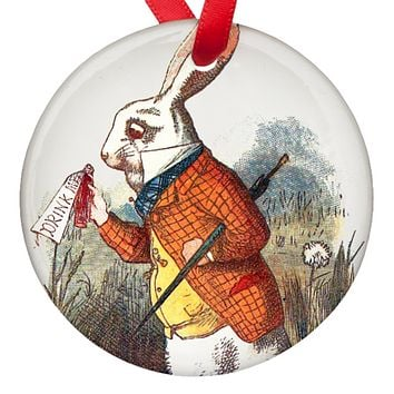 Alice in Wonderland White Rabbit Porcelain Ornaments