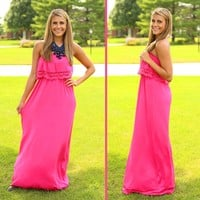 Just Say Yes Maxi Dress in Fuchsia