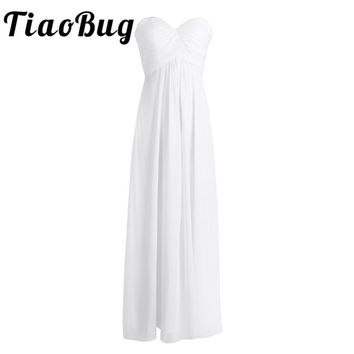 TiaoBug New 2017 V-neck Chiffon Long Bridesmaid Dresses Women Ladies Tulle Bridesmaid Formal Prom Party Dress Drop Shipping Sale