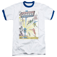 Mens Justice League of America Vintage Cover 12 Ringer T-Shirt