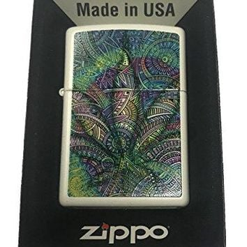 Zippo Custom Lighter - Paisley Weed Pot Leaf Marijuana Double Sided Design
