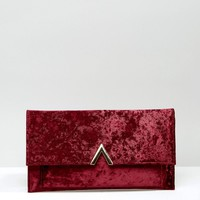 ASOS Slim Velvet Metal Bar Clutch Bag at asos.com