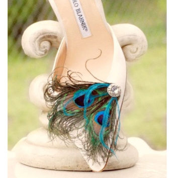 Fancy Peacock & Turquoise Shoe Clips. Couture Wedding Bride Bridesmaid, Stylish Bridal Burlesque Rockabilly Bronze Metallic, Girlfriend Gift