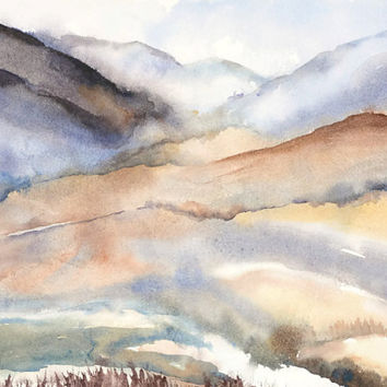 Landscape Abstract Watercolor Painting,Mountain Print Art Landscape Wall Art,Lake Painting,Brown Earthtone Color,Scenic Nature Zen Art 11x14