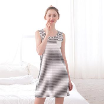 Ruishi Summer Cotton comfortable Nightgown Sexy stripe printing Sleeveless Sleepwear Casual Loose ladies Nightdress Home Clothes