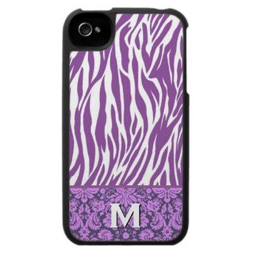Purple and White Zebra Print Custom Name Case For The iPhone 4 from Zazzle.com