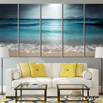 Beach Wall Art  - Night Beach Front  Wall Art Canvas Print, Seascape Canvas Print, Moon Light on Ocean Beach Canvas Print - MC21