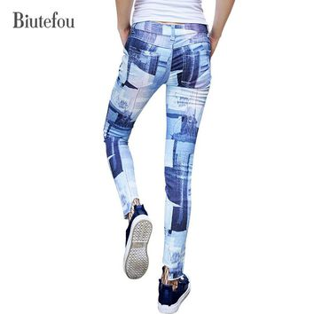 2017 New arrival autumn fashion Graffiti skinny Jeans women vintage high quality ankle-length pants Biutefou brand