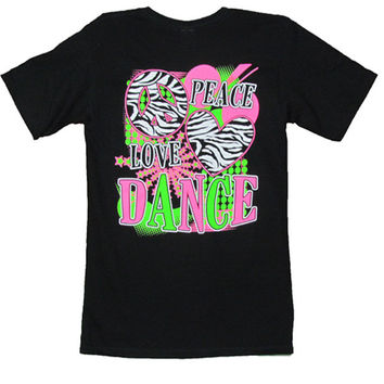 Bjaxx Peace Love Dance Sports Girlie Bright T Shirt