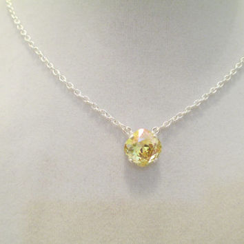 swarovski single stone bridal, bridesmaids necklace in silver, with crystal lemon stone. #203