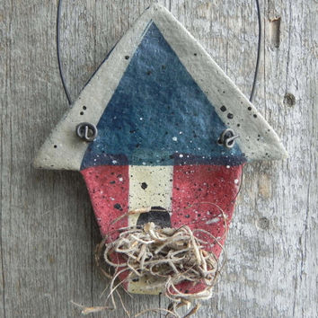 Patriotic Birdhouse Primitive Salt Dough Ornament  / July 4th Decoration