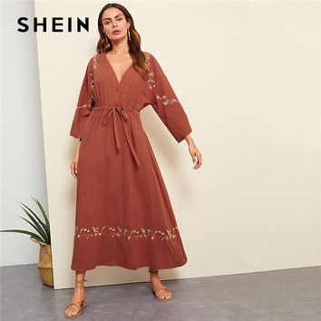 SHEIN Rust Vacation Boho Bohemian Beach Flower Embroidered Plunging Neck Drawstring Waist Maxi Dress Women Casual Dresses
