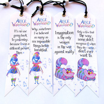 Alice and Wonderland Set of 4 pieces BOOKMARKS, Alice and Wonderland quotes, Watercolor Art Bookmarks, Cheshire Cat Quotes