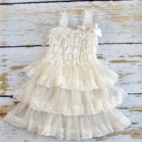 Flower Girl Dres - Ivory lace Flower girl dress, Rustic Vintage Chic Wedding - baby toddler girls infant flower girl party Easter lace dress