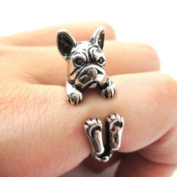 Grumpy French Bulldog Dog Shaped Animal Wrap Around Ring in Shiny Silver | US Sizes 4 to 8.5