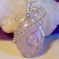 Wire Wrapped Pink Rose Quartz Silver Beaded Cabochon Pendant