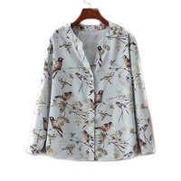 autumn winter New V-neck blue vintage floral birds print women blouse shirt long sleeve real photo