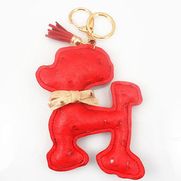 fashion red dog handmade keychain, The tassels, bow keychain ,independent objects trend accessories, red seduction, leather keychain