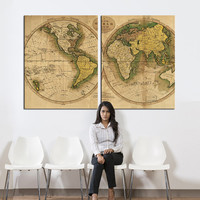 Vintage world map Canvas art, Large wall Art, landscape wall art, old World Map print, extra large world map print, wall decor canvas print