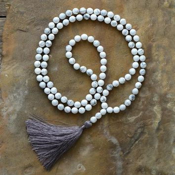 Women Mala 8MM Faceted Howlite Tassel Necklace Yoga 108 Beads Knotted Necklace Bohemia Meditation Necklace Dropship