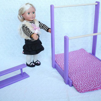 American Girl Furniture: Gymnastic Uneven Bars and Balance Beam with gym mat for 18 inch dolls Made in America