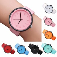 Candy Color Unisex Simple Fashion Number Watches Quartz Canvas Belt Wrist Watch