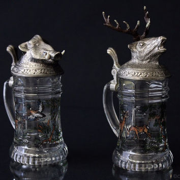 Set of 2 Shot Glasses with Deer and Wild boar lid Shot glasses with handles Glass Pewter Deer head Boar head Kitsch Kitschy Barware Hunt 70s