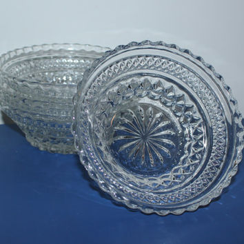 Anchor Hocking Wexford clear pressed glass bowls (Set of 4), berry bowls, fruit bowls, dessert bowls, vintage bowls