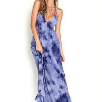 TIE DYE PLUNGE STRAP BACK MAXI DRESS