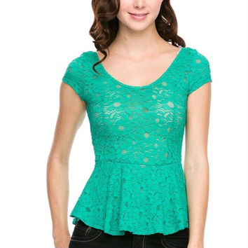 Lace Cap Sleeve Peplum Top