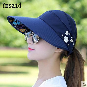Ymsaid Summer Hats Women Foldable UV Protection Sun Hat Visor Suncreen Floppy Cap Chapeau Femme Outdoor Beach Hat