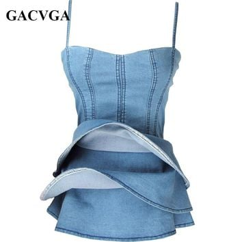 GACVGA Sexy Off Shoulder Women Denim Top Casual Ruffles Sleeveless Camis Blue Blusas Loose Beach Girl Tank Tops