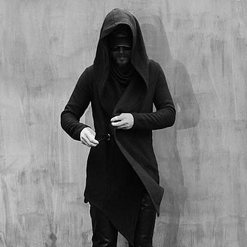 Street Style Men's Personalized Irregular Jacket Male Fashion Cape Coat Slim Trench With a Hood Stylist Top Black Wool Jackets