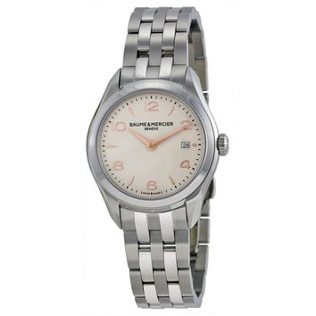 Baume and Mercier Clifton Silver Dial Stainless Steel Ladies Watch MOA10175