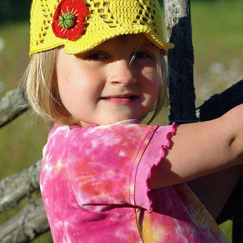 Kids yellow crochet summer visor hat cap, handmade sunhat, girls baseball hat, girls sunhat, cotton sunhat, hat with flower, girls sun hat