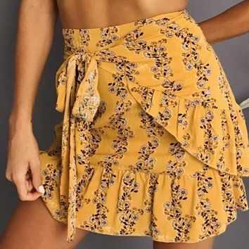 High Waist Ruffled Hemline Wrap Skirt