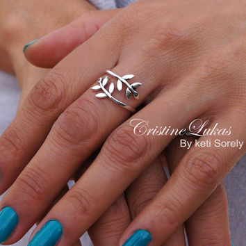 Olive Branch Ring In Sterling Silver - Tree Branch Ring - Double Wrap Ring - Olive Branch Vine By Pass Ring