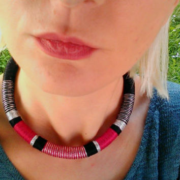 Cyber, Choker, Tribal Necklace, Rope Necklace, African Choker, African Necklace, Aztec Necklace, Tribal Necklace, for Her, African Jewelry