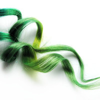 Human Hair Extension, Spring extension hair, extension, green clip in hair, Tie Dye Colored Hair - Emerald Fire