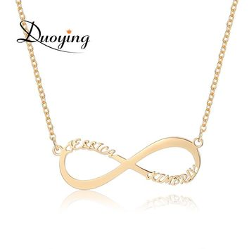 DUOYING 	Infinity Necklace For eBay Custom Name Necklace Gold Two Name Personalized Gift Mother Daughter Minimalist Necklace