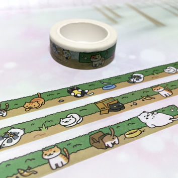 cute Cat washi tape 10M x 1.5CM garden cat cartoon cat washi masking tape street cat pussy cat sticker cat planner diary scrapbook meow gift