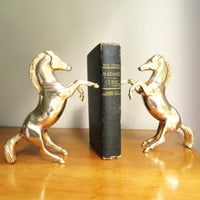 Vintage Brass Horse Bookends, Gold Horse Book Ends, Brass Equine Bookends, Rearing Horses