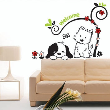 H926 Popular Cartoon Cats and dogs Wall Stickers Home Decor Kids Room decals 30*60cm adesive de pared = 1929689028