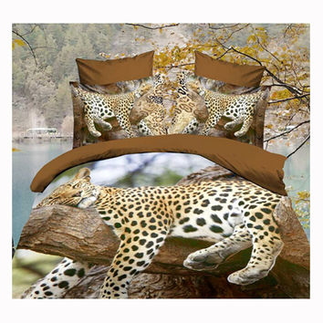 3D Queen King Size Bed Quilt/Duvet Sheet Cover Cotton reactive printing 4pcs 1.5M bed 60