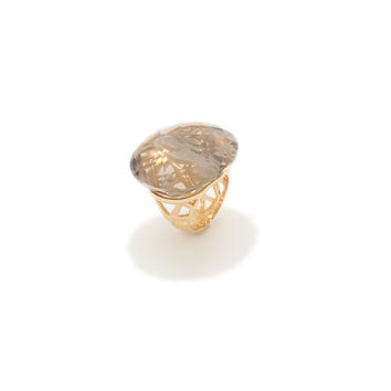 Solar Crystal  Quartz Flare Gold Ring
