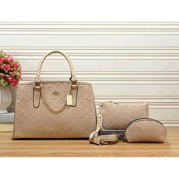 Perfect COACH Women Leather Handbag Tote Shoulder Bag Clutch Bag Cosmetic Bag Set Three-Piece