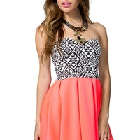 Pleat Tribal Contrast Dress