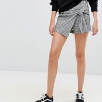 Bershka Dog Tooth Check Skort at asos.com